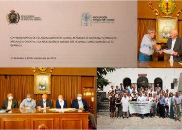 Firma Convenio colaboración de la Real Academia de Medicina y Cirugía de Andalucía Oriental, Ceuta y Melilla y Asociación Amigos del Clínico